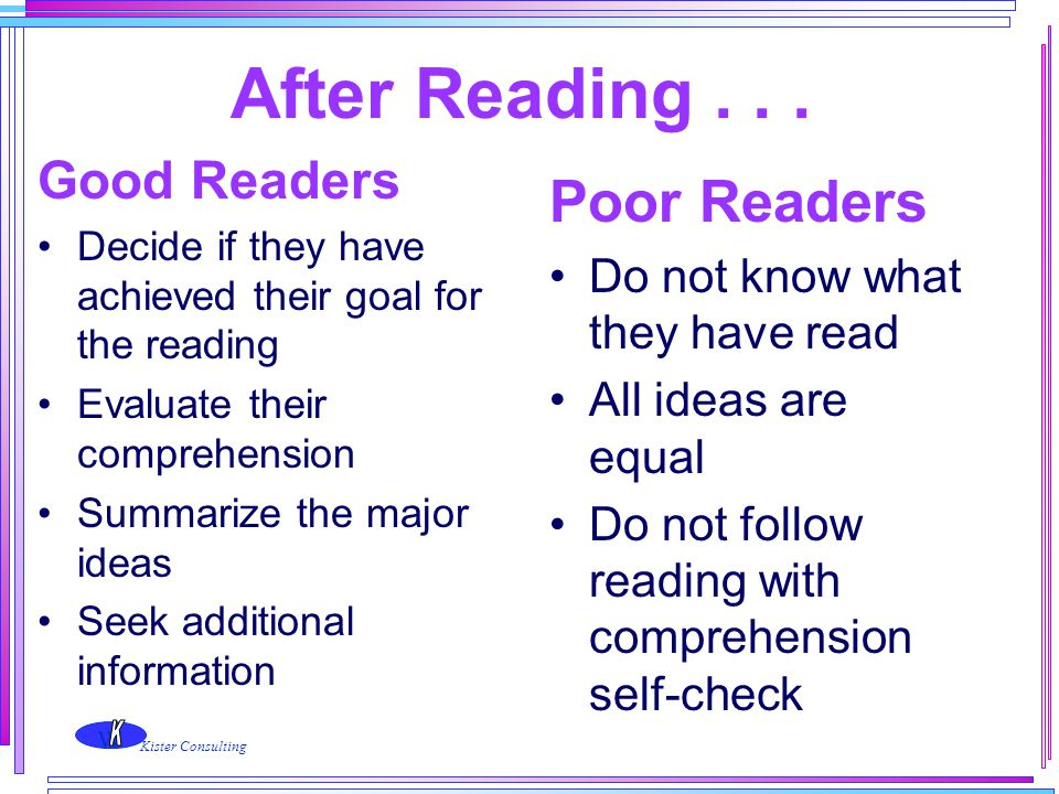 After Reading . . . Poor Readers Good Readers