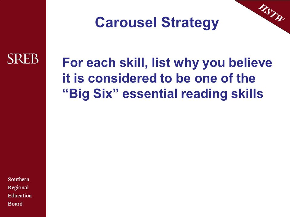 Carousel Strategy For each skill, list why you believe it is considered to be one of the Big Six essential reading skills.