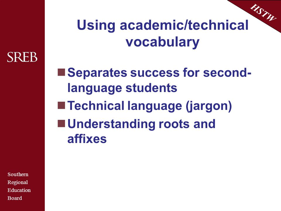Using academic/technical vocabulary