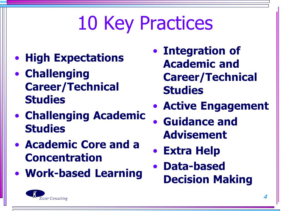 10 Key Practices Integration of Academic and Career/Technical Studies