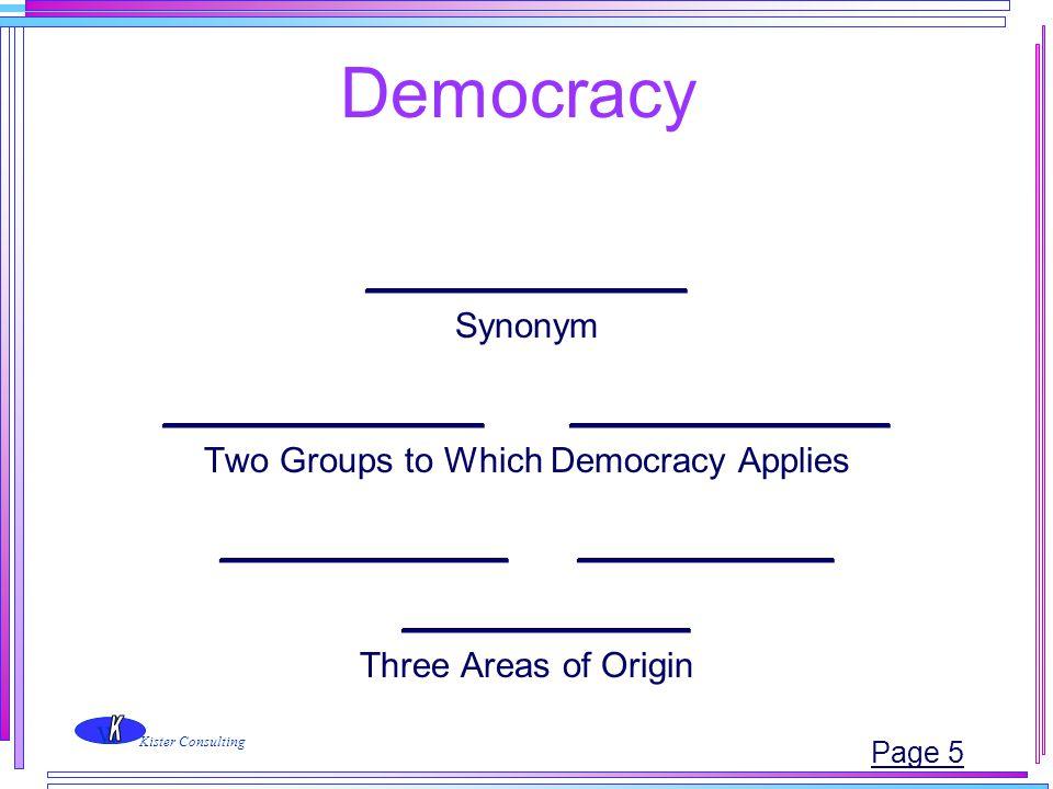 Democracy __________ __________ __________