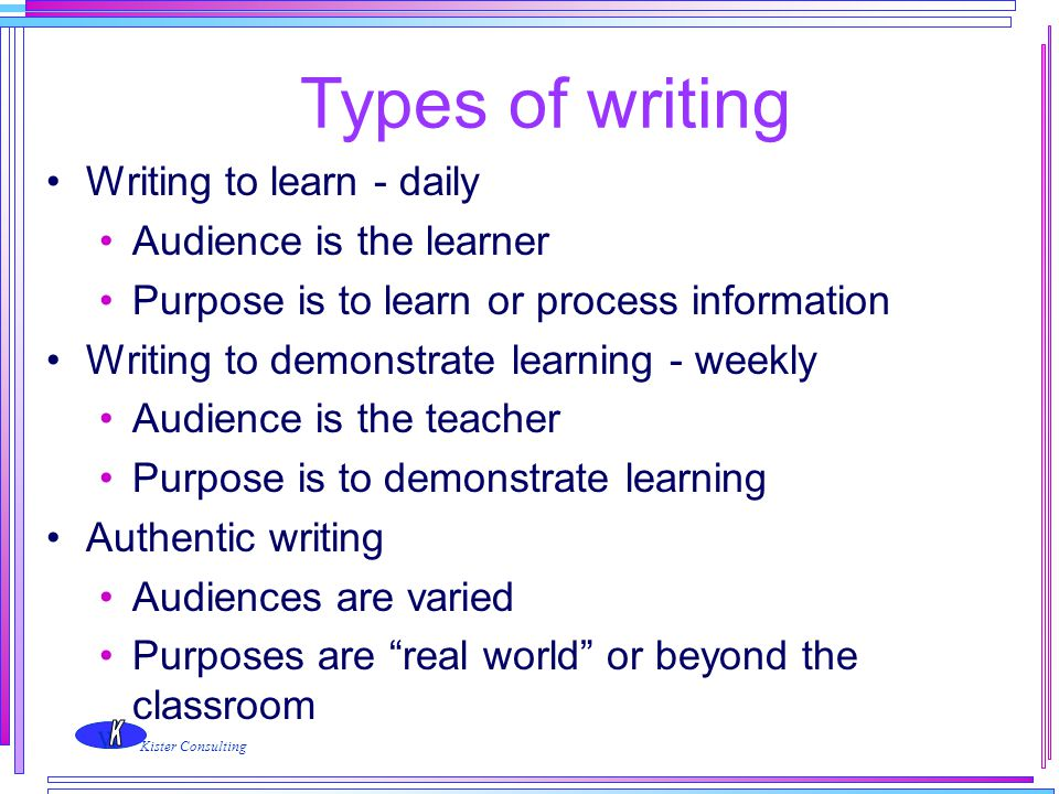 Types of writing Writing to learn - daily Audience is the learner