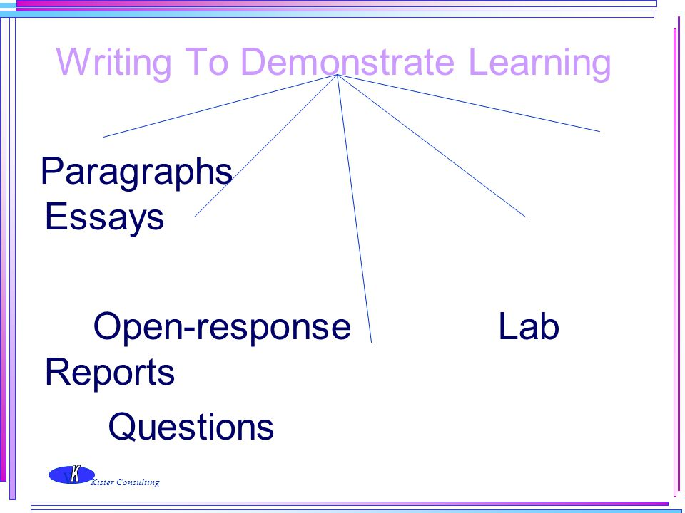 Writing To Demonstrate Learning