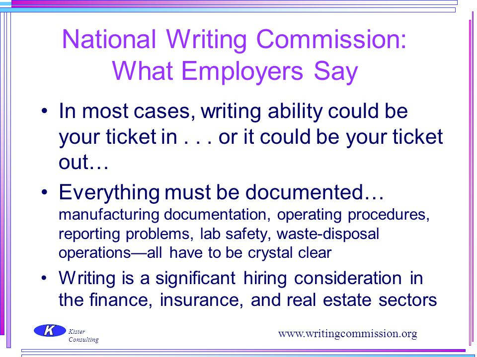 National Writing Commission: What Employers Say