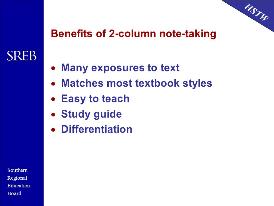 Benefits of 2-column note-taking