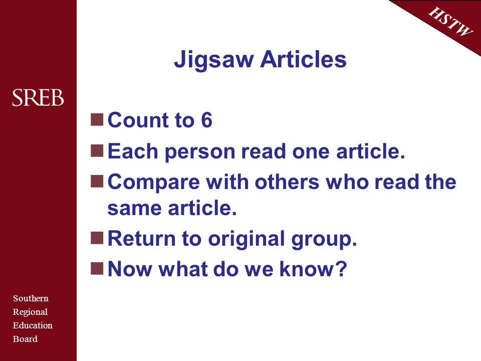 Jigsaw Articles Count to 6 Each person read one article.