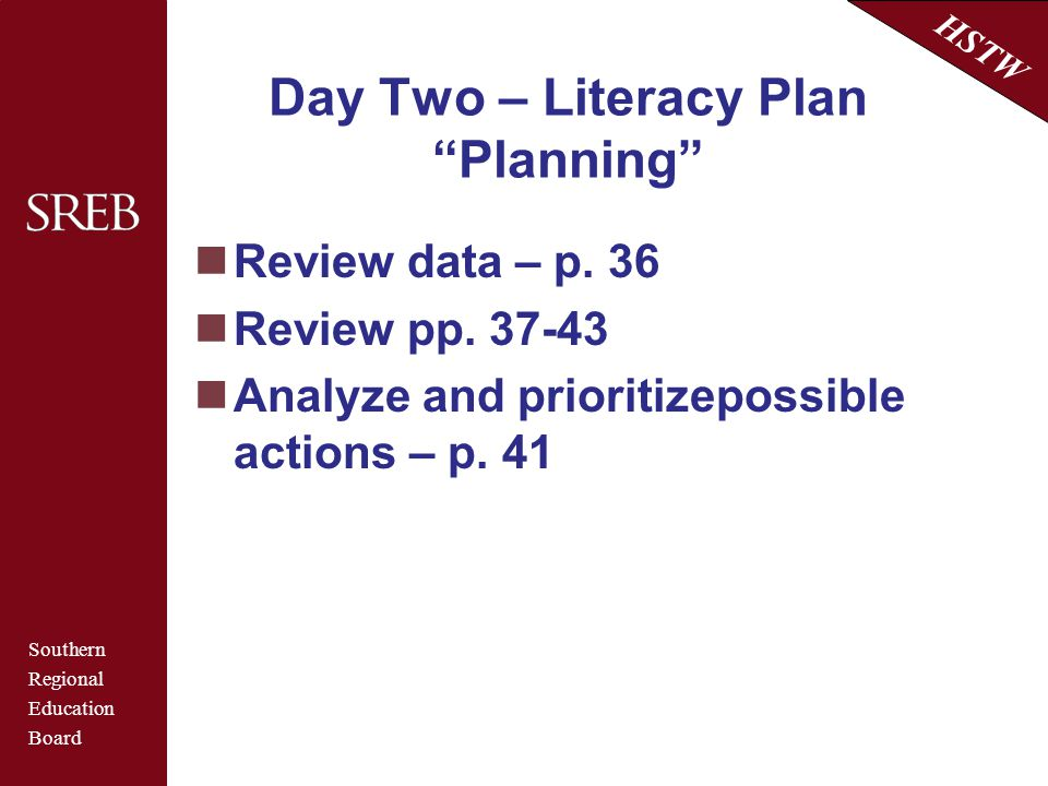 Day Two – Literacy Plan Planning