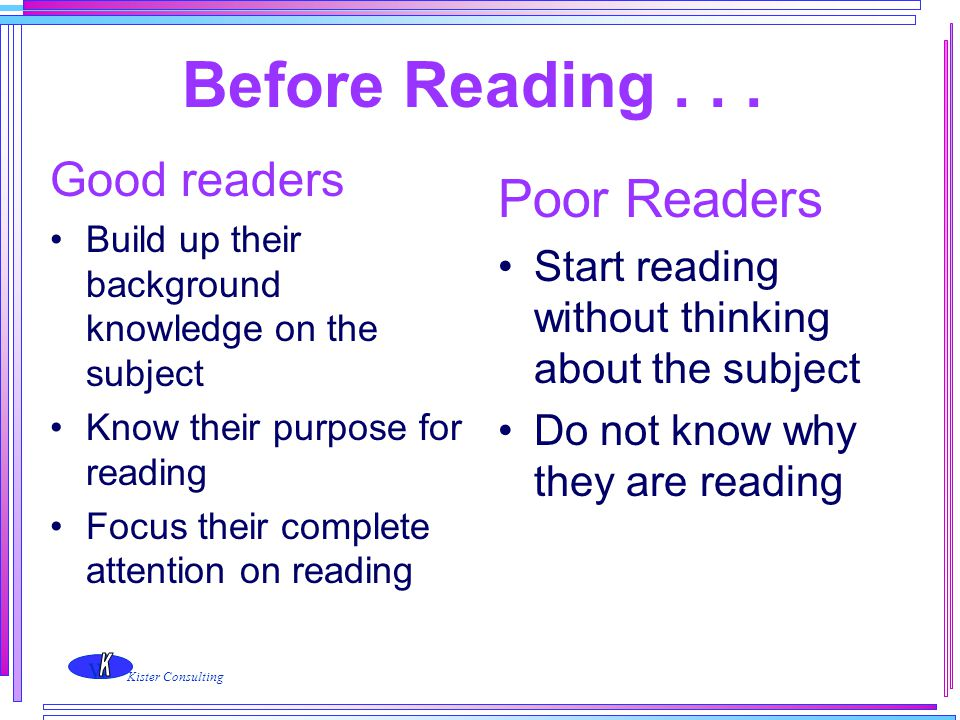 Before Reading . . . Poor Readers Good readers