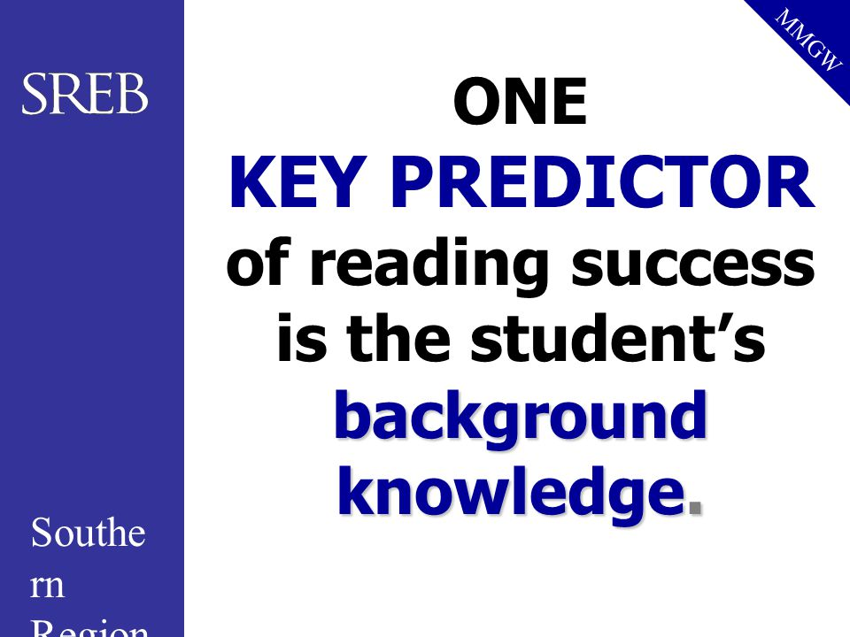 ONE KEY PREDICTOR of reading success is the student's background knowledge.