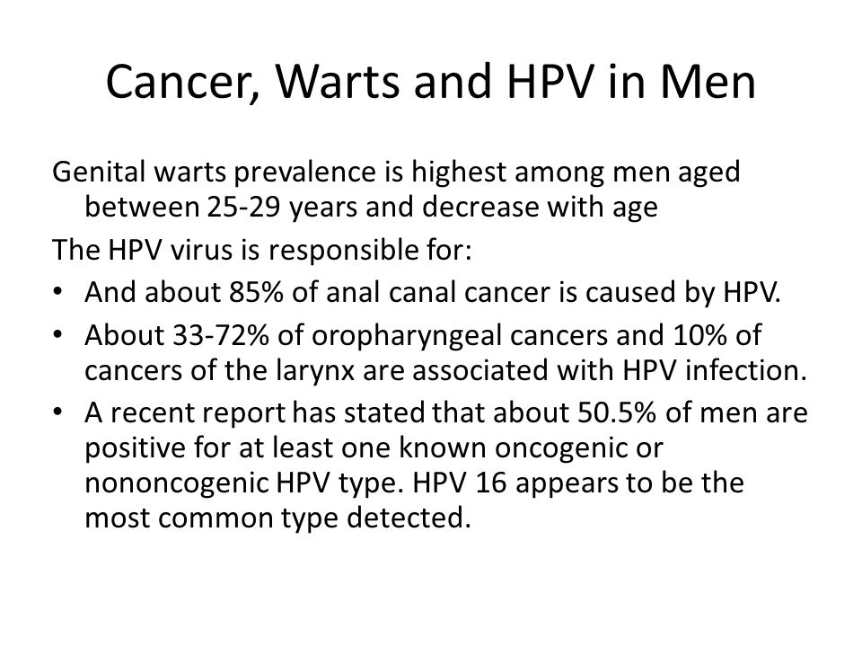 Cancer, Warts and HPV in Men