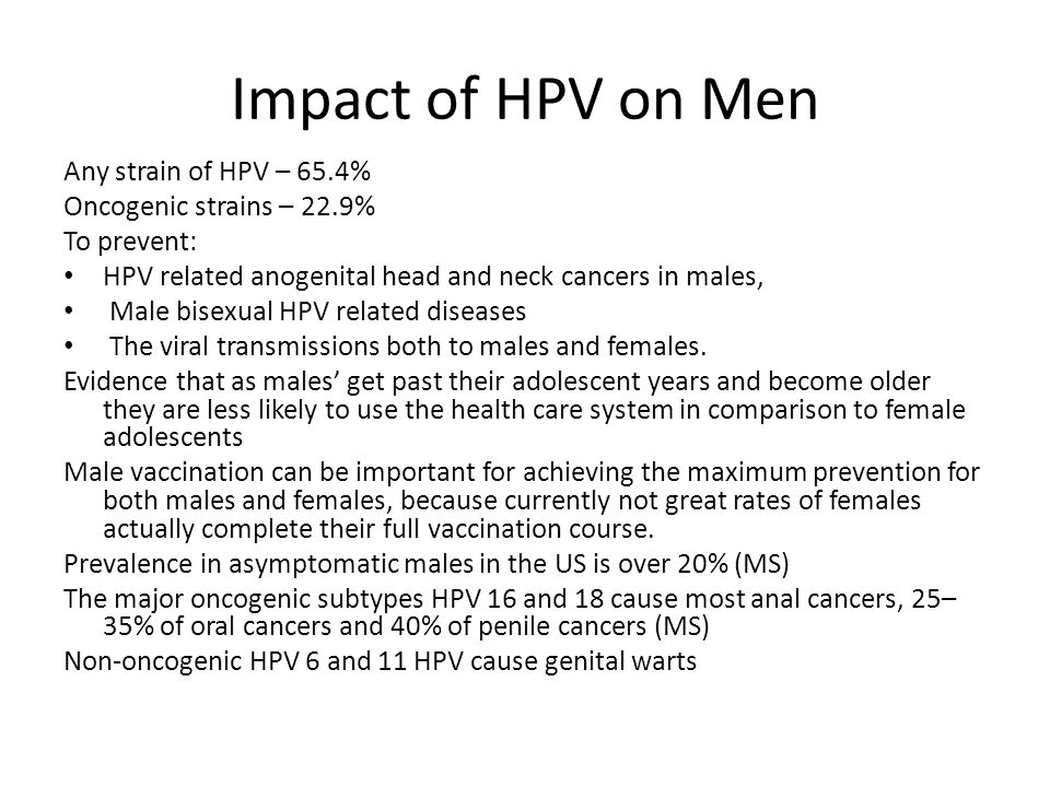 Impact of HPV on Men Any strain of HPV – 65.4%