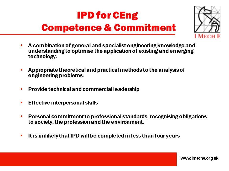 IPD for CEng Competence & Commitment
