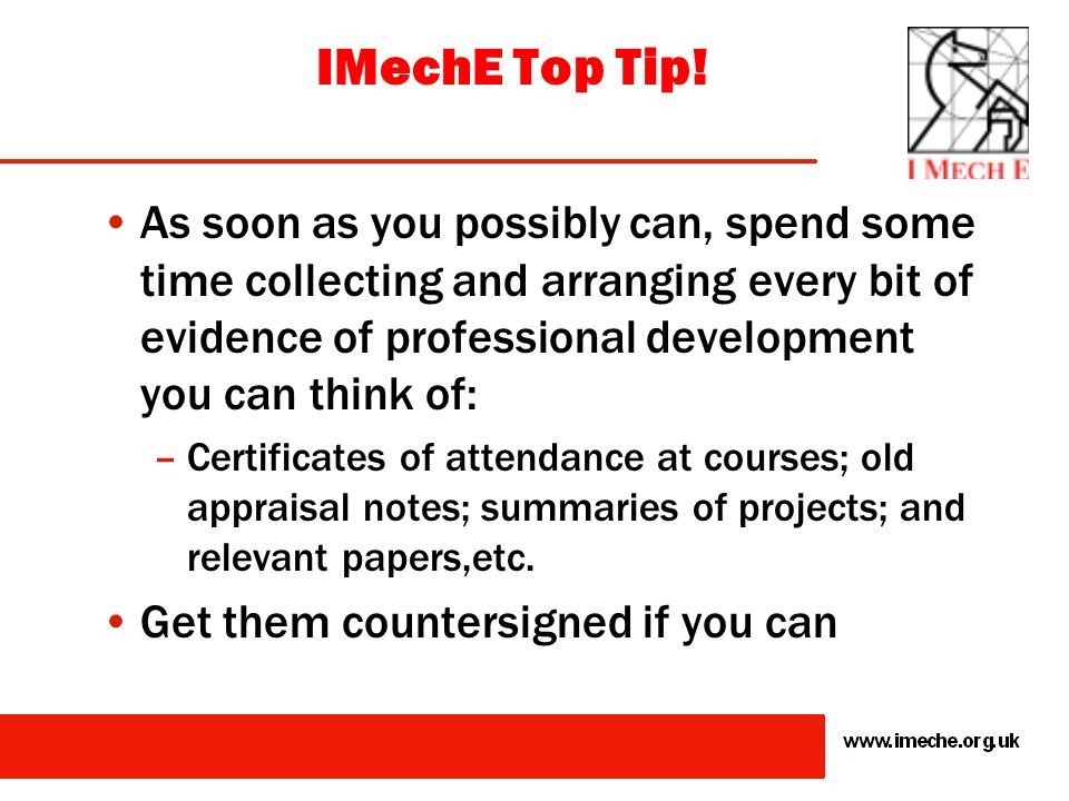 IMechE Top Tip!