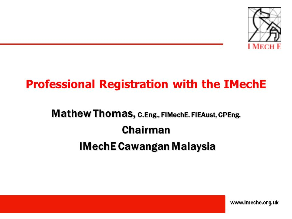 Professional Registration with the IMechE