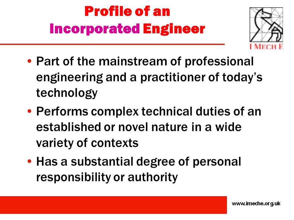 Profile of an Incorporated Engineer