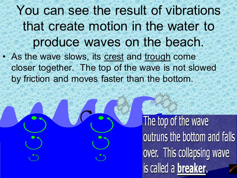 You can see the result of vibrations that create motion in the water to produce waves on the beach.