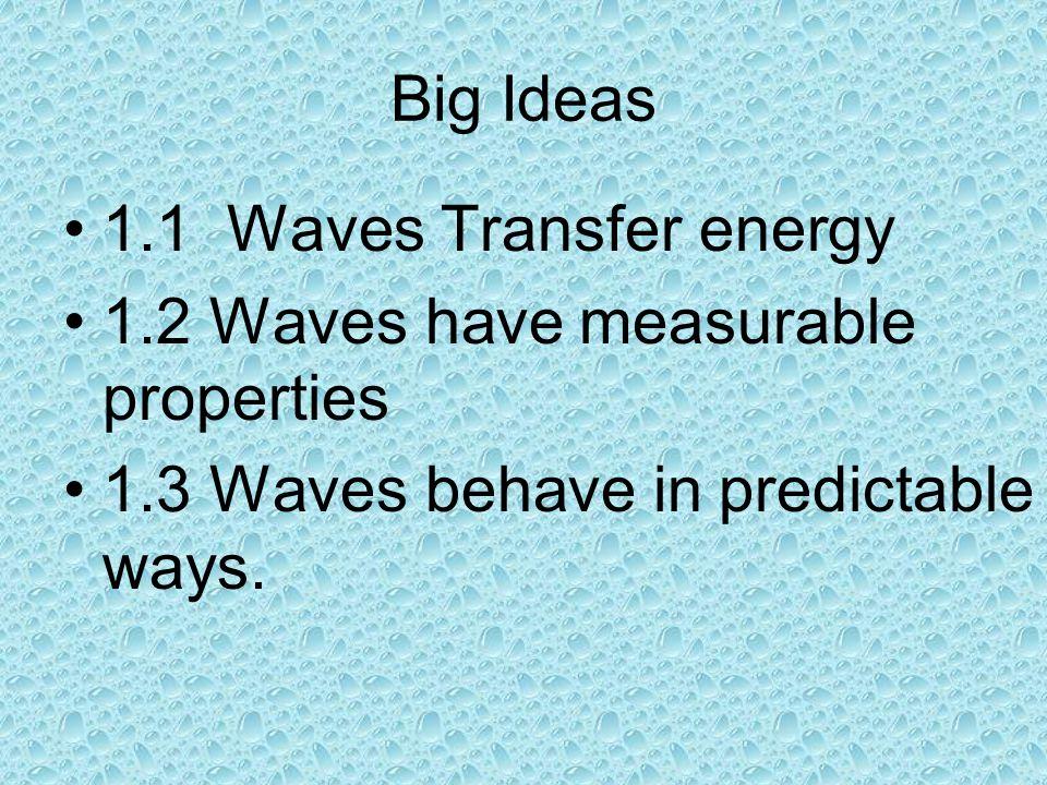 Big Ideas 1.1 Waves Transfer energy. 1.2 Waves have measurable properties.