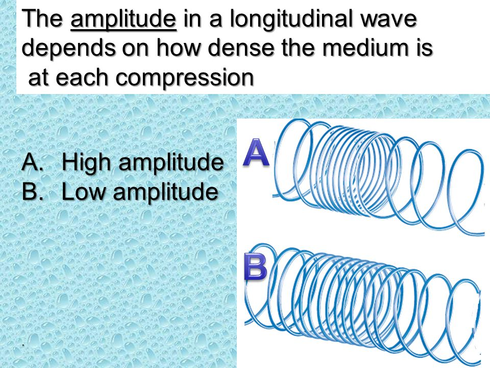 The amplitude in a longitudinal wave depends on how dense the medium is