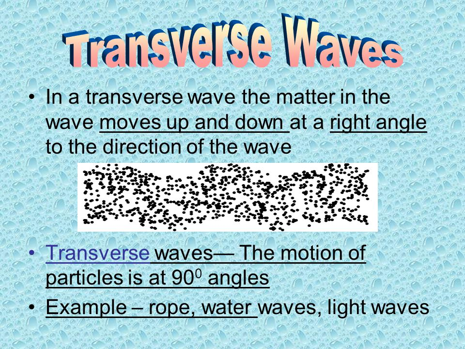 Transverse Waves In a transverse wave the matter in the wave moves up and down at a right angle to the direction of the wave.