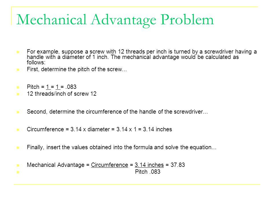 Mechanical Advantage Problem