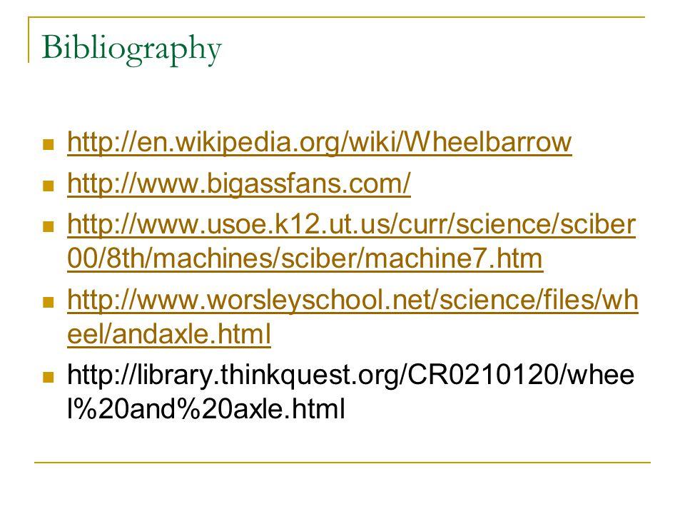 Bibliography http://en.wikipedia.org/wiki/Wheelbarrow