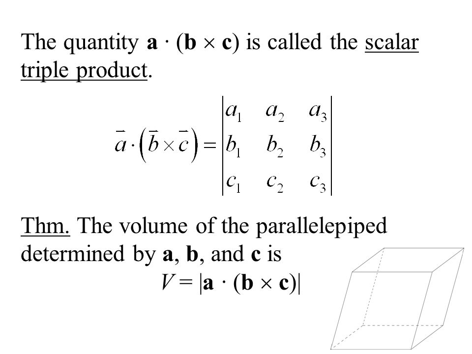 The quantity a ∙ (b  c) is called the scalar triple product.