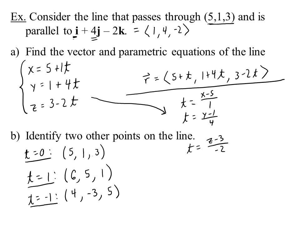 Ex. Consider the line that passes through (5,1,3) and is parallel to i + 4j – 2k.