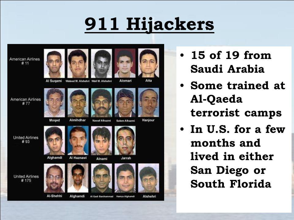 911 Hijackers 15 of 19 from Saudi Arabia