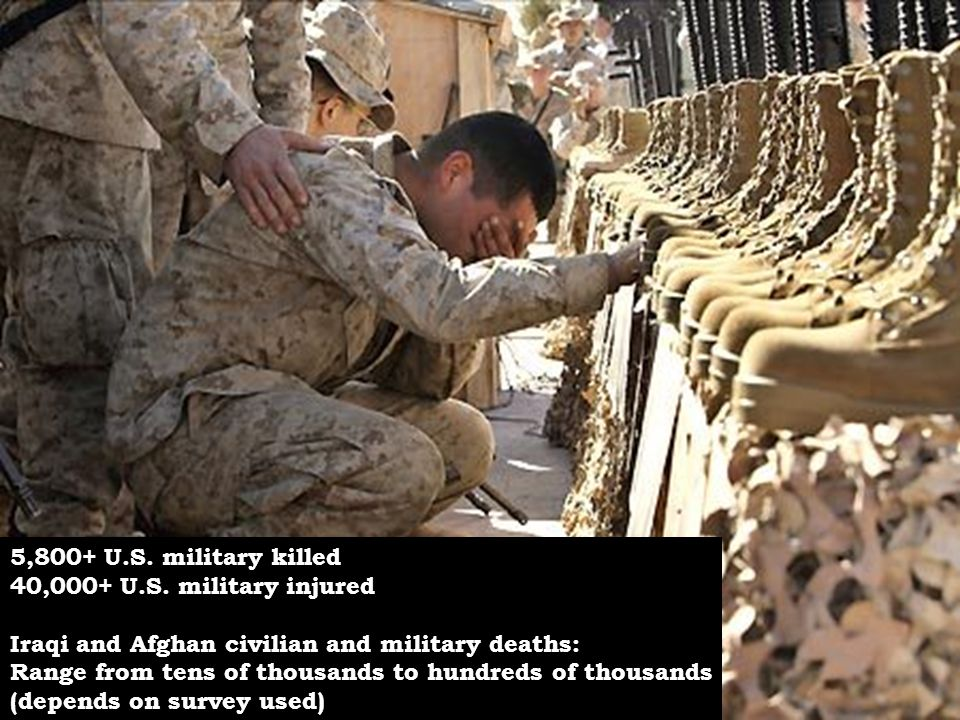5,800+ U.S. military killed 40,000+ U.S. military injured. Iraqi and Afghan civilian and military deaths: