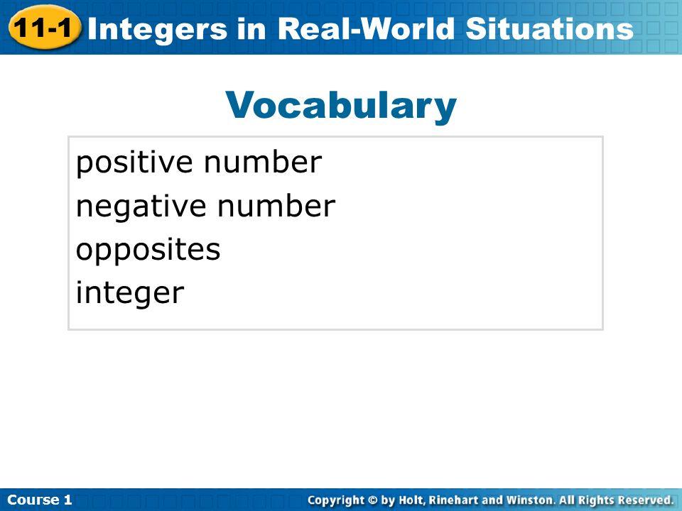 Vocabulary positive number negative number opposites integer