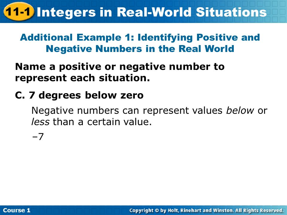 Additional Example 1: Identifying Positive and Negative Numbers in the Real World