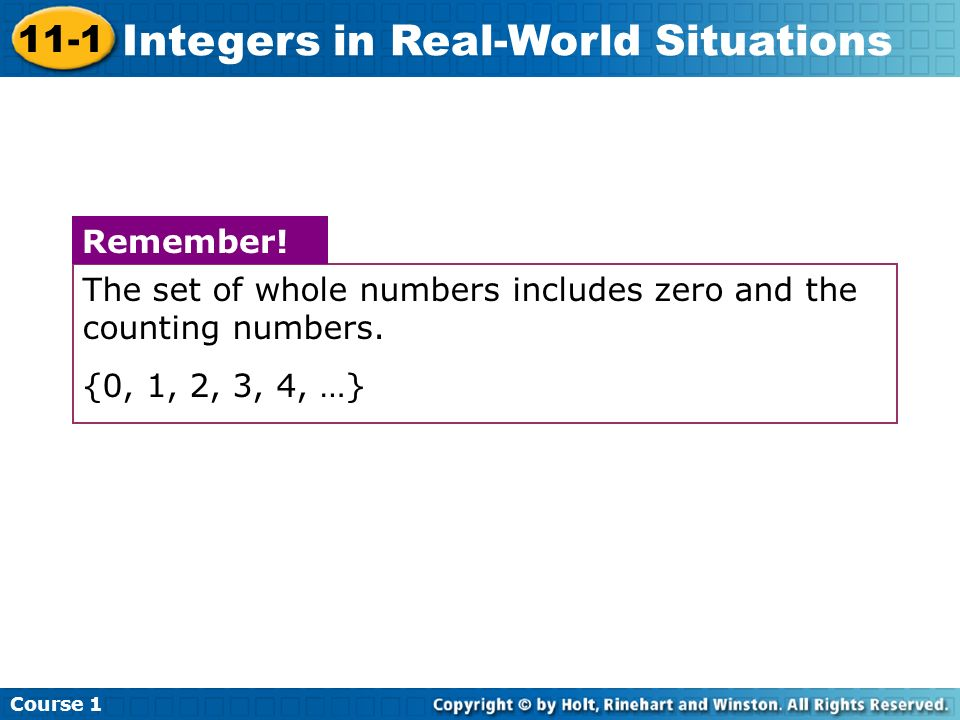 The set of whole numbers includes zero and the counting numbers.