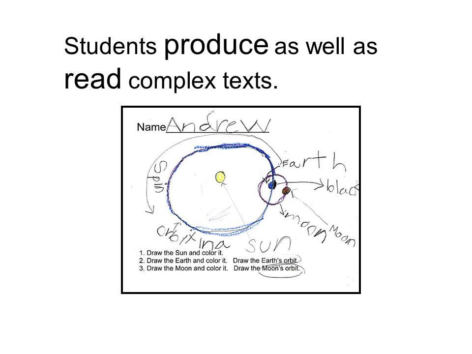 Students produce as well as read complex texts.