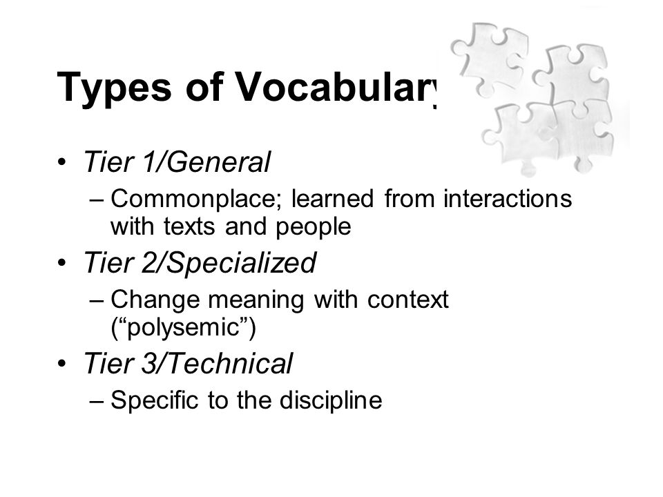 Types of Vocabulary Tier 1/General Tier 2/Specialized Tier 3/Technical