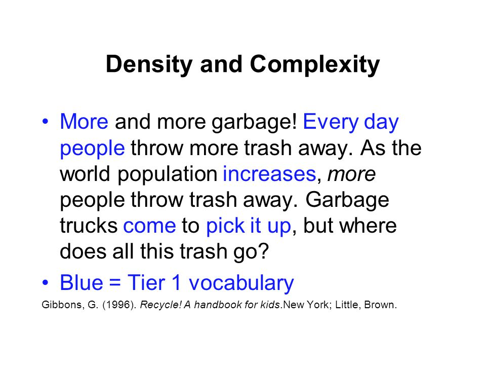 Density and Complexity