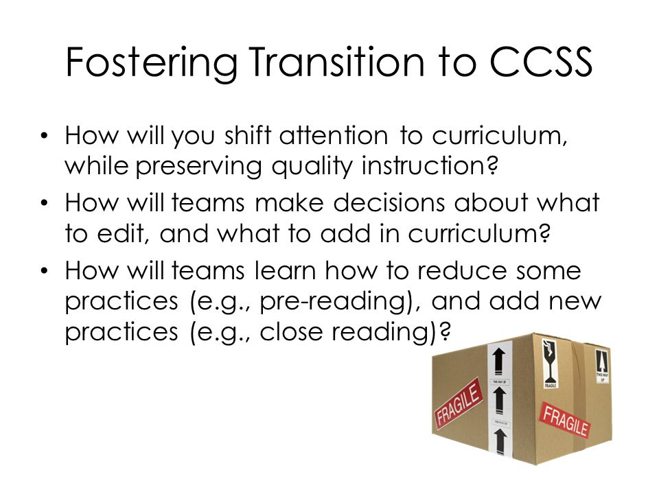 Fostering Transition to CCSS