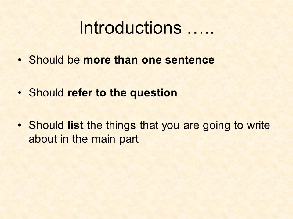 Introductions ….. Should be more than one sentence