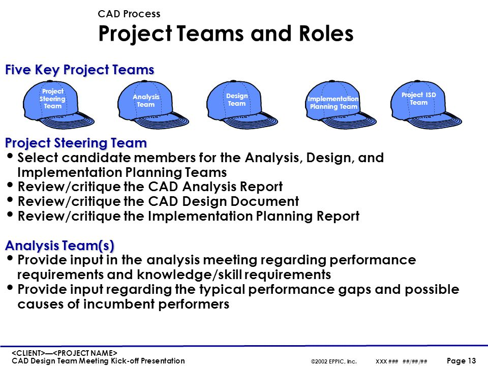 CAD Process Project Teams and Roles (continued)