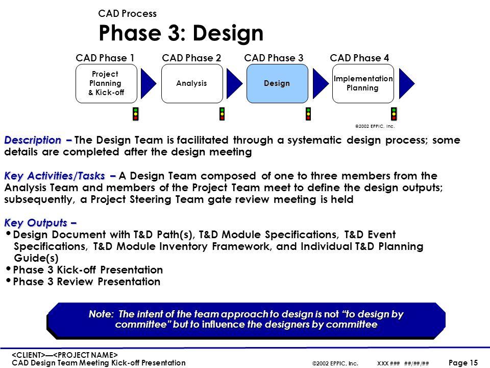 CAD Design Steps 1. Establish the T&D Paths - Beginning - Middle - End