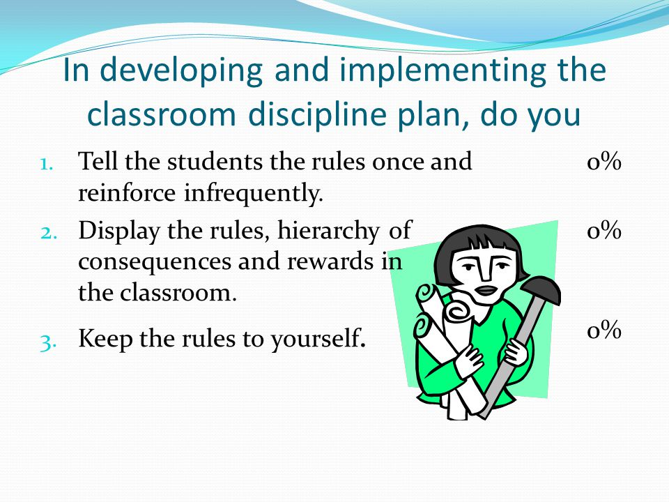 In developing and implementing the classroom discipline plan, do you