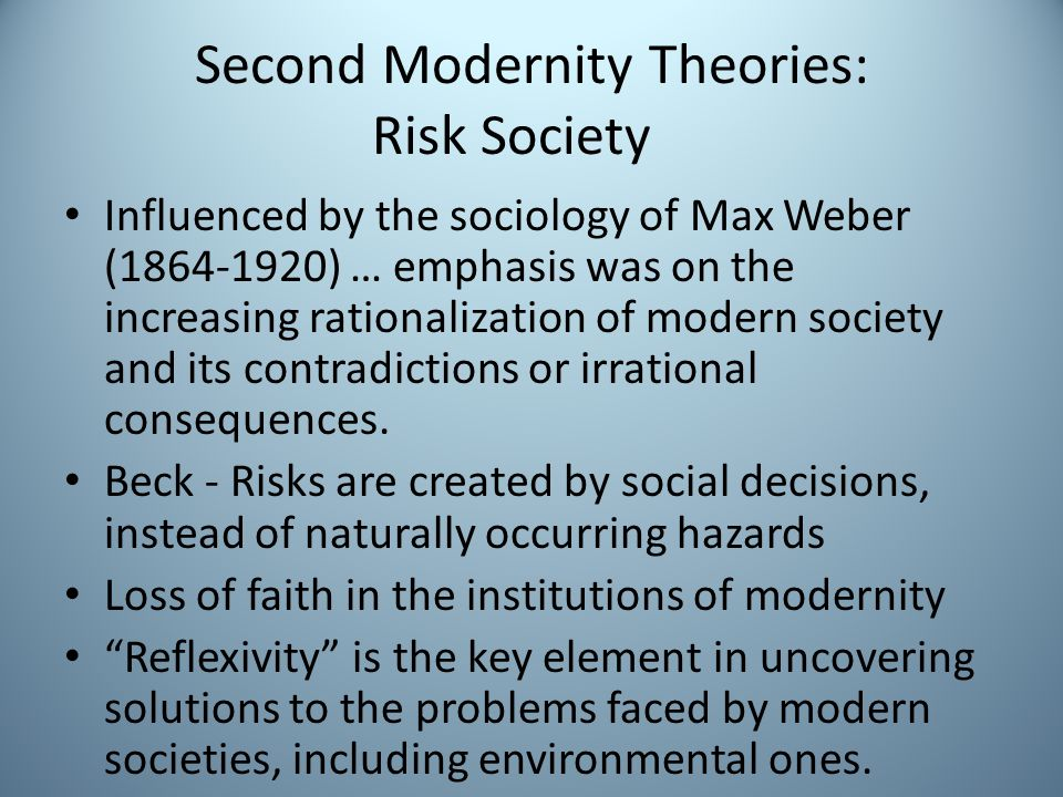 Second Modernity Theories: Risk Society