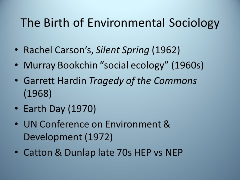 The Birth of Environmental Sociology
