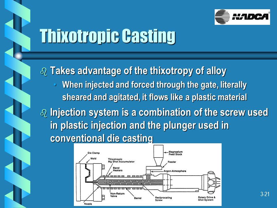 Thixotropic Casting Takes advantage of the thixotropy of alloy