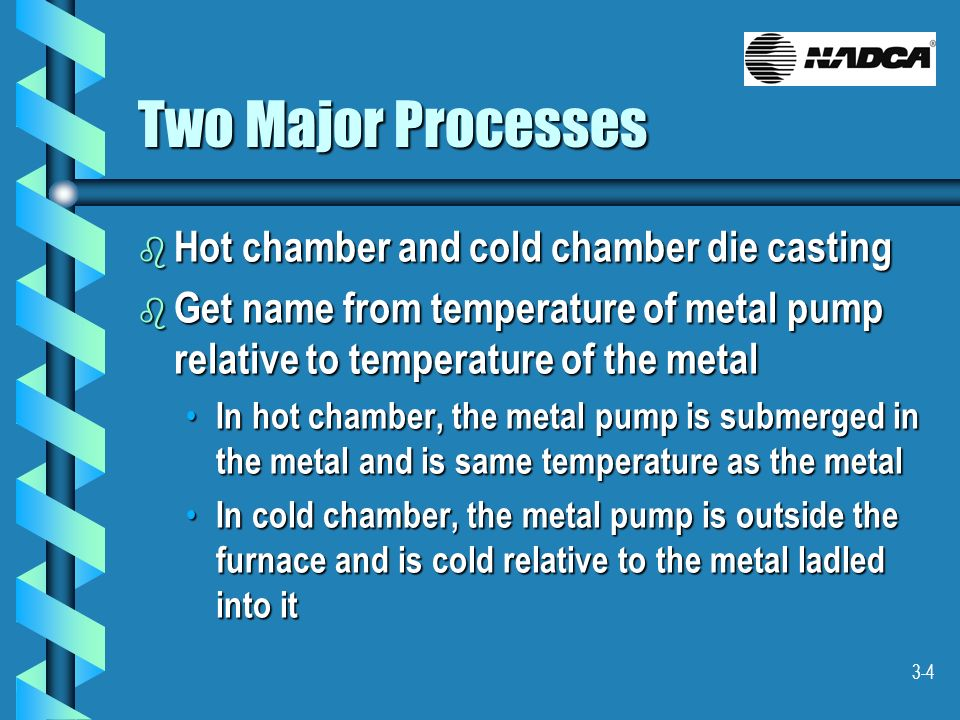 Two Major Processes Hot chamber and cold chamber die casting