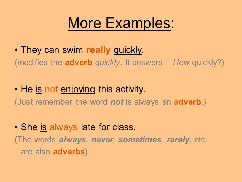 More Examples: They can swim really quickly.