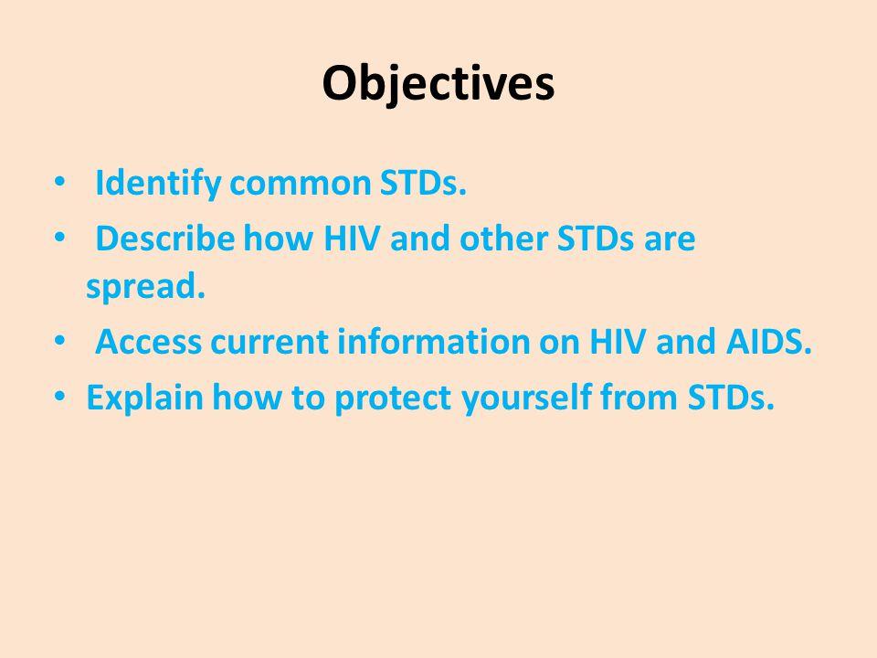 Objectives Identify common STDs.