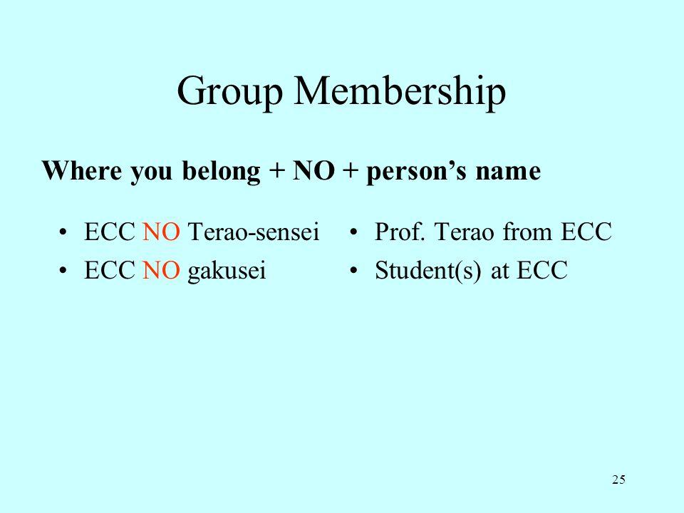 Group Membership Where you belong + NO + person's name
