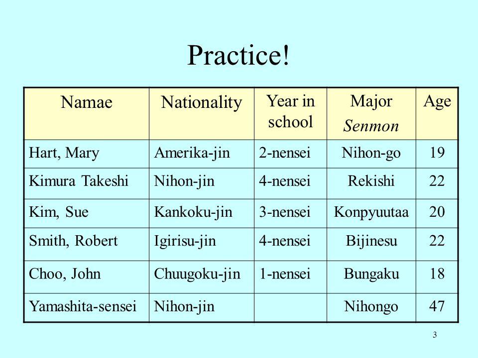 Practice! Namae Nationality Year in school Major Senmon Age Hart, Mary