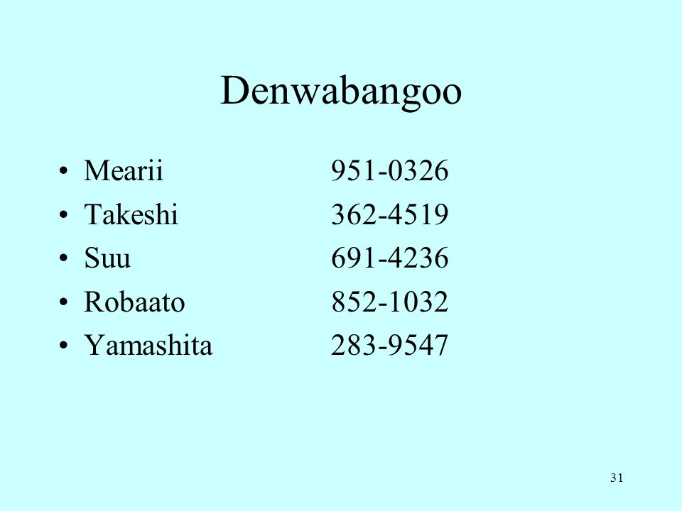 Denwabangoo Mearii 951-0326 Takeshi 362-4519 Suu 691-4236