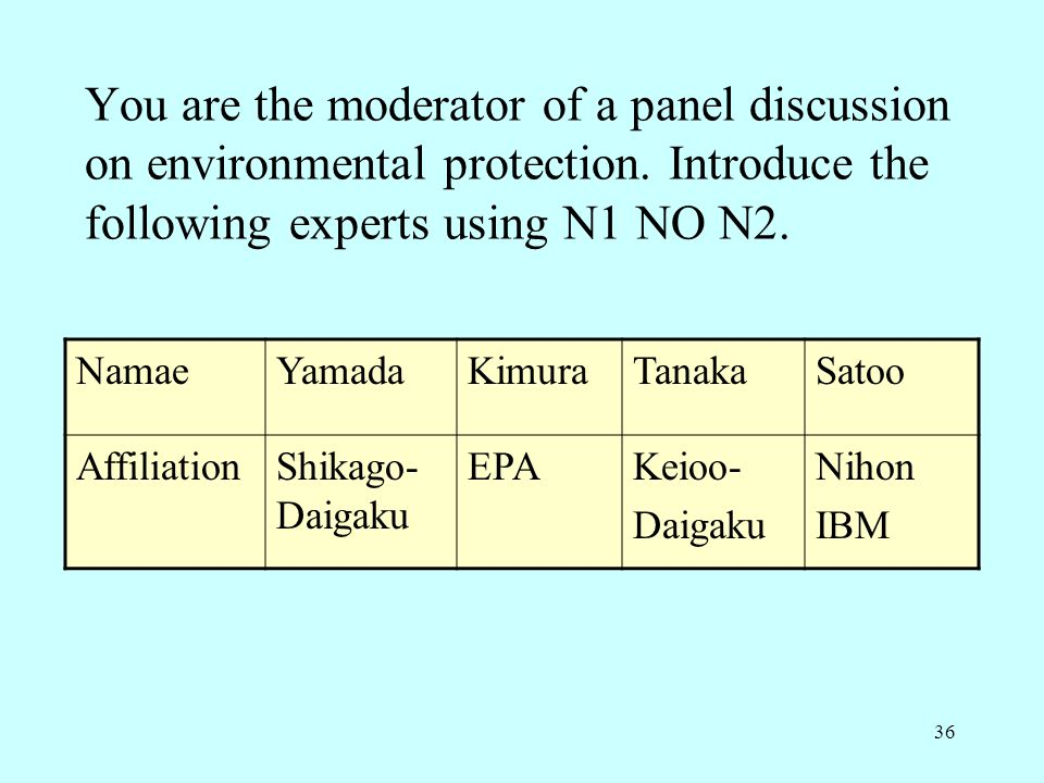 You are the moderator of a panel discussion on environmental protection. Introduce the following experts using N1 NO N2.